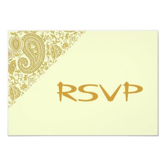 Gold indian damask RSVP Card