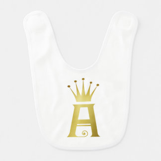Gold Initial A Letter Monogram Baby Bib