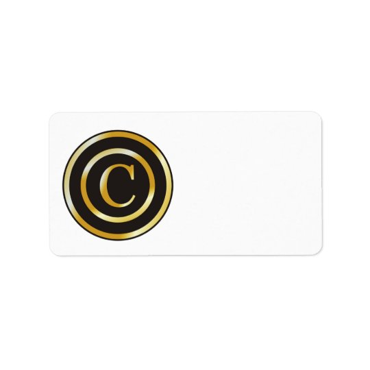 Gold Initial C Monogrammed Blank Address Labels