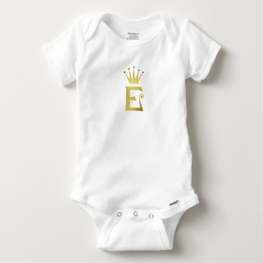 Gold Initial E Letter Monogram Crown Baby Bodysuit