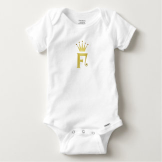 Gold Initial F Letter Monogram Crown Baby Bodysuit