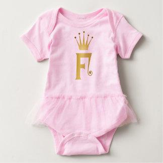 Gold Initial F Letter Monogram Crown Baby Tutu Baby Bodysuit