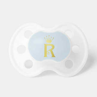 Gold initial R Letter Monogram Baby Pacifier