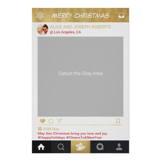 Gold Instagram Frame Christmas Party Photo Booth Poster