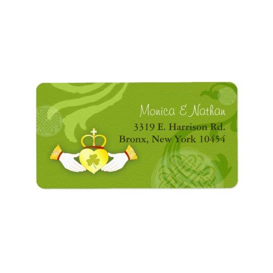 Gold Irish Claddagh Heart Green Wedding Address Label