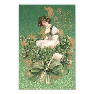 Gold Irish Woman Green Bow Shamrock Clay Pipe Photo Art