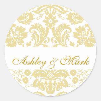 Gold Ivory Bride Groom Damask Wedding Sticker
