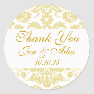 Gold Ivory Damask Wedding Favor Round Sticker