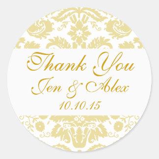 Gold Ivory Damask Wedding Favor Round Sticker