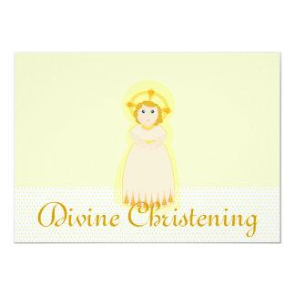 Gold Ivory Divine Christening Invitation-Customize 13 Cm X 18 Cm Invitation Card
