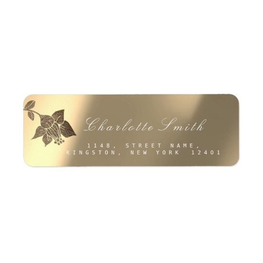 Gold Ivory Sepia Pearly Lily Black Return Address