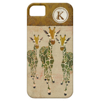 Gold & Jade Giraffes Damask Monogram iPhone Case