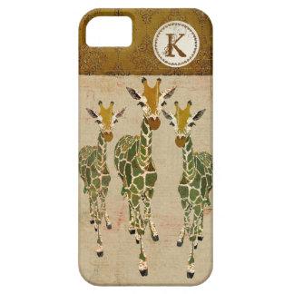 Gold & Jade Giraffes Damask Monogram iPhone Case