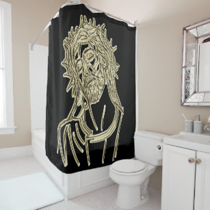 Gold Jesus Looking Up To God Glimmering Brightly Shower Curtain