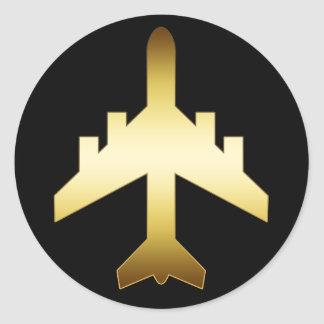 GOLD JET AIRPLANE ROUND STICKER