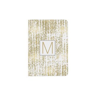 Gold Jewel Bokeh Abstract Monogram Passport Holder