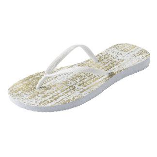 Gold Jewel Bokeh Abstract Wedding Flip Flops