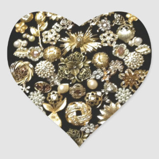 Gold Jewelry Christmas Tree Heart Stickers