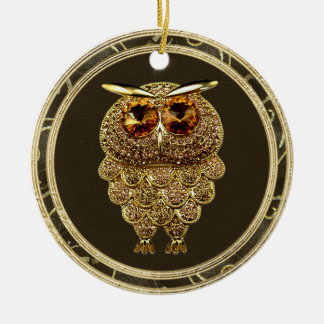 Gold Jewels Steampunk Owl Photo Print Ornament