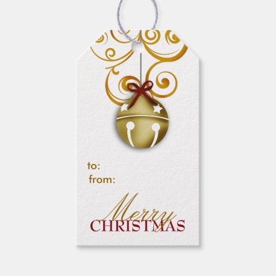 Gold Jingle Bell Merry Christmas Gift Tags