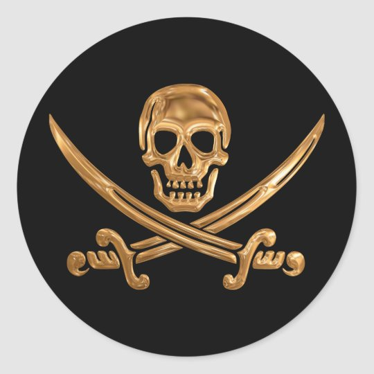 Gold Jolly Roger Classic Round Sticker