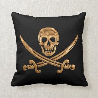 Gold Jolly Roger Cushion