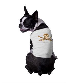 Gold Jolly Roger Sleeveless Dog Shirt