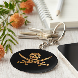 Gold Jolly Roger Key Ring