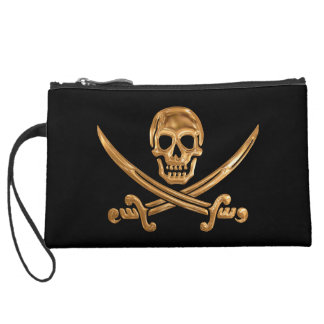 Gold Jolly Roger Wristlet Purse