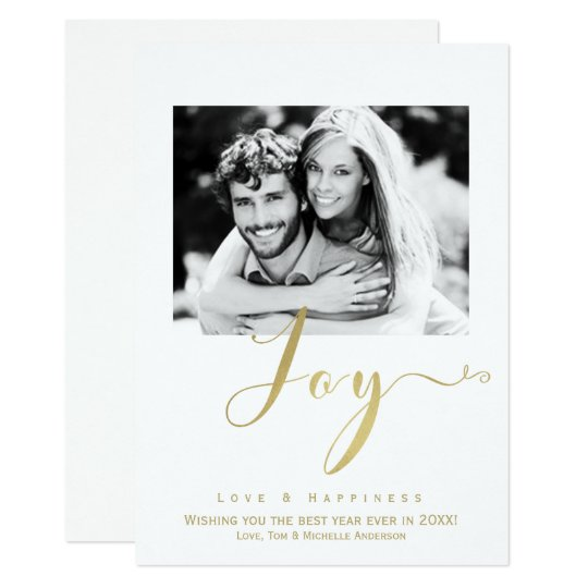 Gold JOY Holiday New Years Photo Invitation