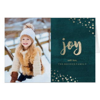 Gold Joy on Teal Holiday Greeting Card