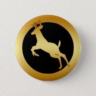GOLD JUMPING DEER 6 CM ROUND BADGE