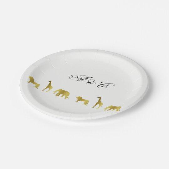 Gold Jungle & Safari Party Paper Plates