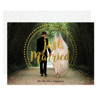 Gold Just Married Photo | Post Wedding Brunch Card