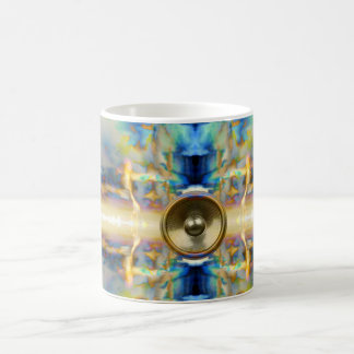 Gold kaleidoscope music speaker coffee mug