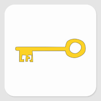 Gold Key on White. Square Sticker