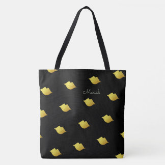 gold kisses with your name on black tote bag
