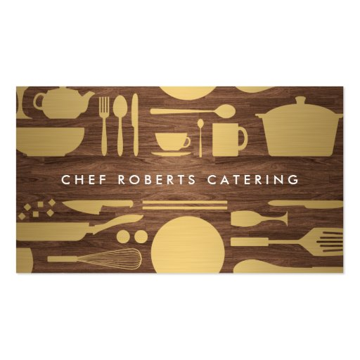 GOLD KITCHEN COLLAGE on WOODGRAIN Business Card Templates