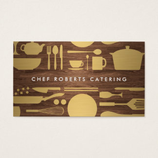 GOLD KITCHEN COLLAGE on WOODGRAIN Business Card