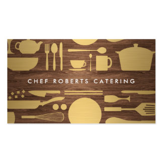 GOLD KITCHEN COLLAGE on WOODGRAIN Pack Of Standard Business Cards