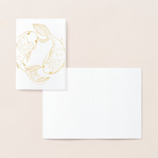 Gold Koi Pisces Foil Card