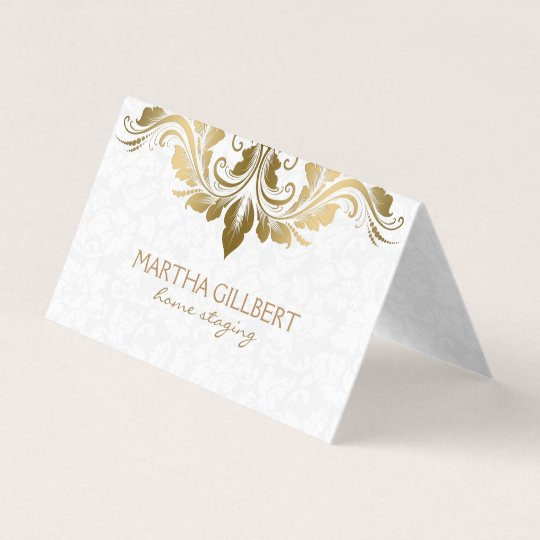 Gold lace and white damask business card zazzle gold lace and white damask business card reheart Choice Image