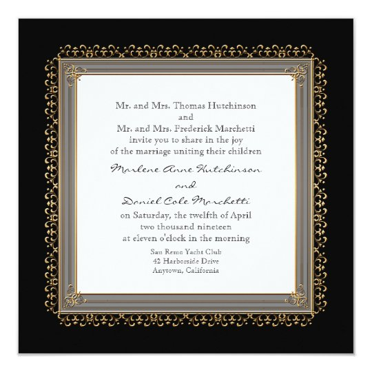 Gold & Lace Baroque Formal Elegant Wedding Invite