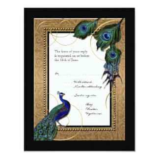 "Gold & Lace Baroque Formal Elegant Wedding Invite 4.25"" X 5.5"" Invitation Card"