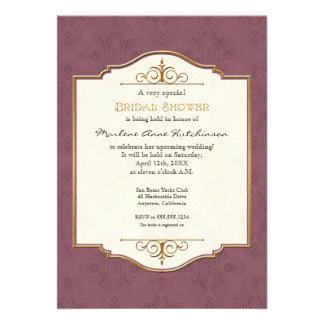 Gold Lace Classic Formal Elegant Bridal Shower Invite