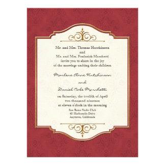 Gold Lace Classic Formal Elegant Wedding Invite