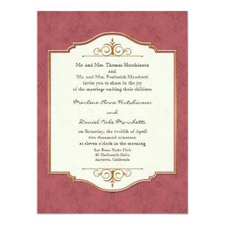 "Gold & Lace Classic Formal Elegant Wedding Invite 6.5"" X 8.75"" Invitation Card"