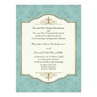 Gold & Lace Classic Formal Elegant Wedding Invite