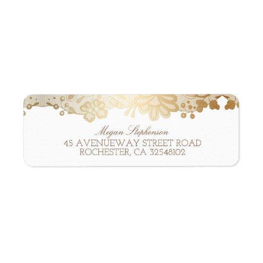 Gold Lace Elegant Vintage Wedding Return Address Label