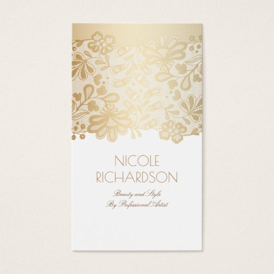 Gold Lace Elegant Vintage White Business Card